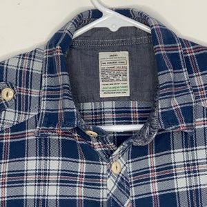 JACHS Mens Flannel Shirt LS Blue White Plaid Large